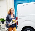 woman delivering flowers at easter