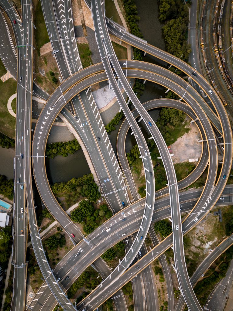 Complex junction viewed from above