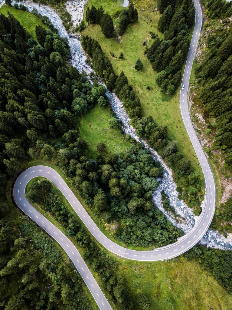 Winding road, viewed from above