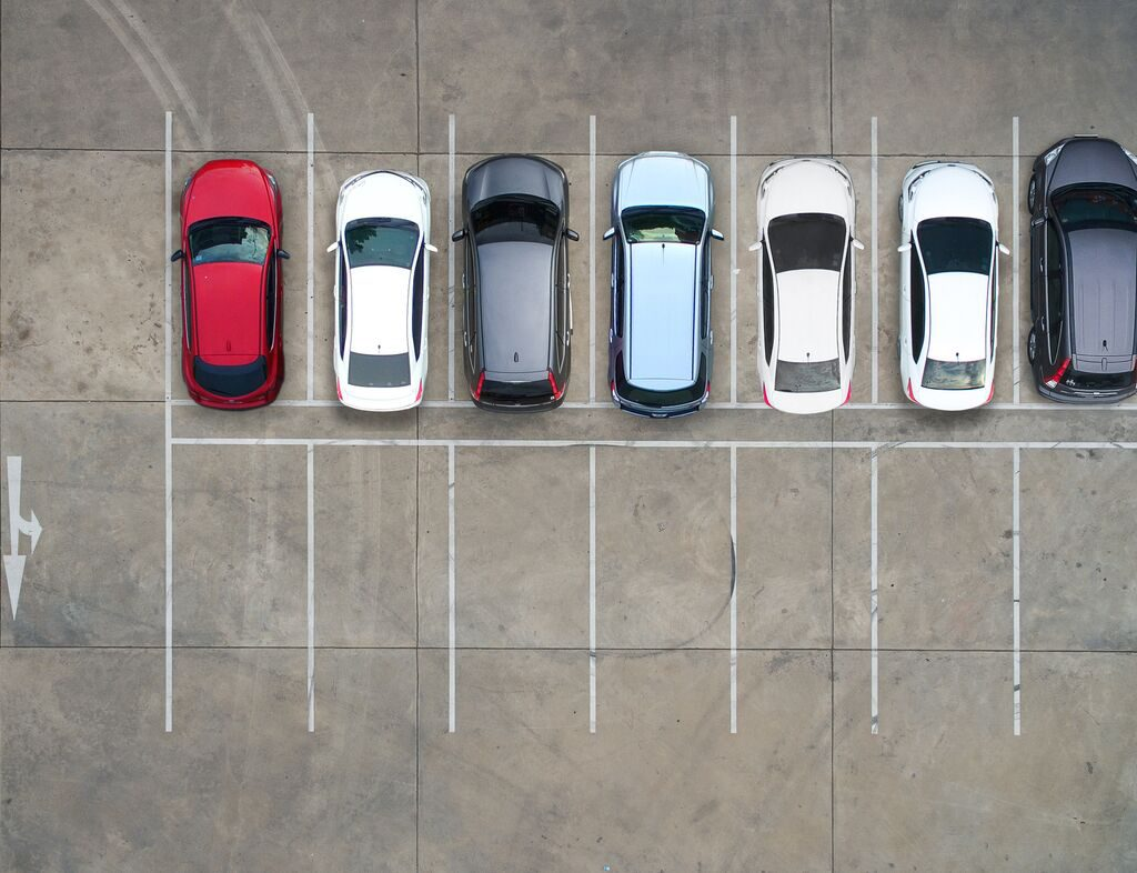 Fleet of vehicles parked