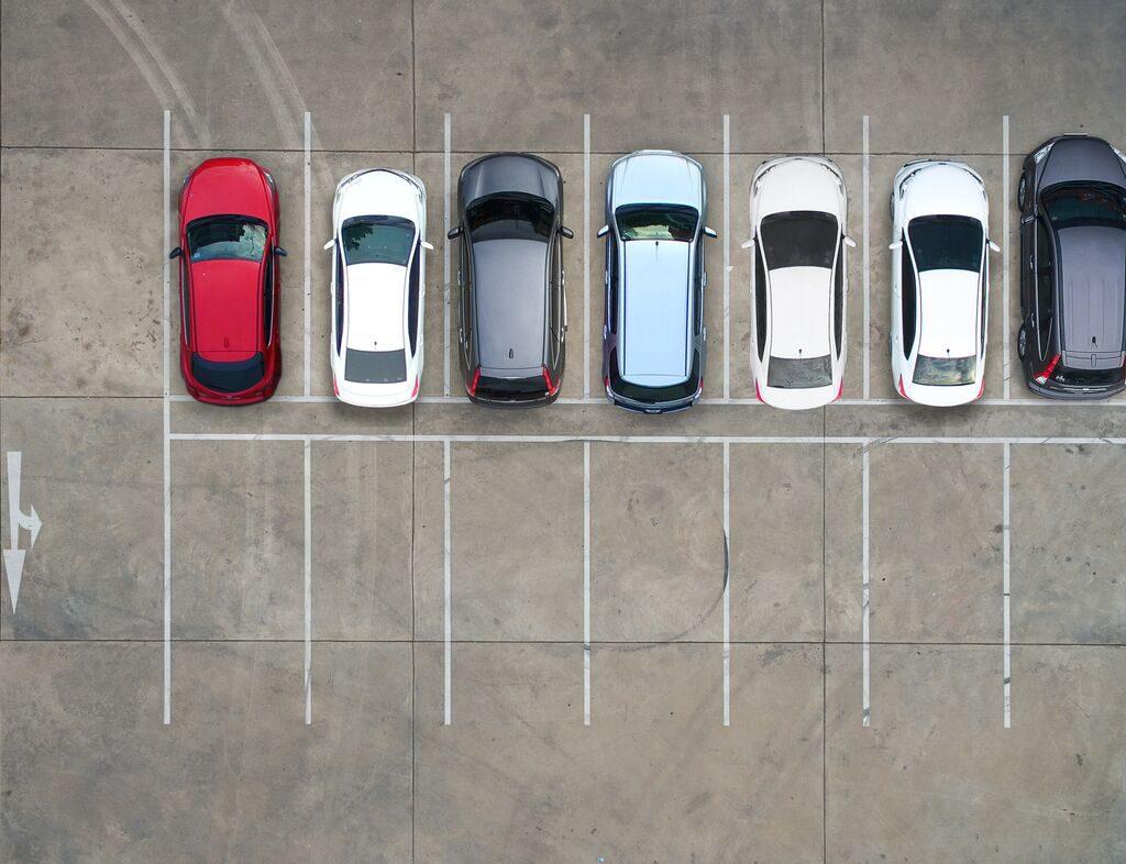 Fleet of vehicles parked